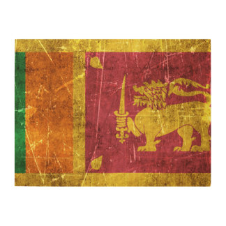 Vintage Aged and Scratched Flag of Sri Lanka Wood Wall Art