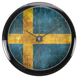 Vintage Aged and Scratched Flag of Sweden Aquavista Clock