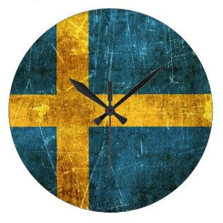 Vintage Aged and Scratched Flag of Sweden Clocks