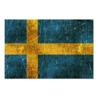 Vintage Aged and Scratched Flag of Sweden Poster