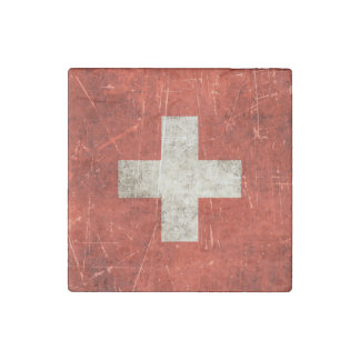 Vintage Aged and Scratched Flag of Switzerland Stone Magnet