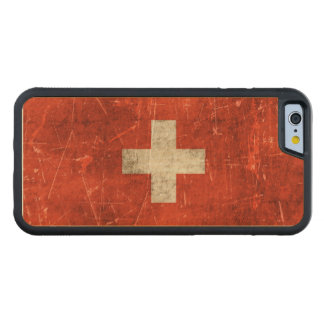 Vintage Aged and Scratched Flag of Switzerland Carved® Maple iPhone 6 Bumper Case