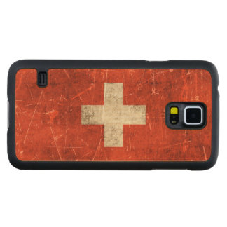 Vintage Aged and Scratched Flag of Switzerland Carved® Maple Galaxy S5 Case