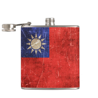 Vintage Aged and Scratched Flag of Taiwan Hip Flask