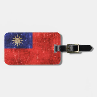 Vintage Aged and Scratched Flag of Taiwan Luggage Tag