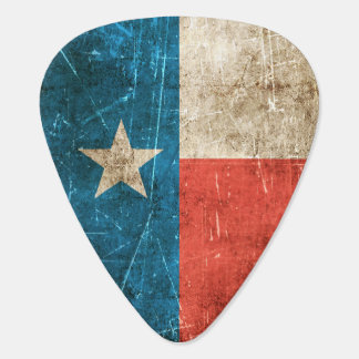 Vintage Aged and Scratched Flag of Texas Guitar Pick