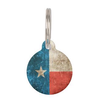 Vintage Aged and Scratched Flag of Texas Pet Name Tag