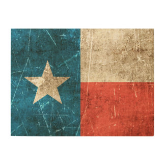 Vintage Aged and Scratched Flag of Texas Wood Wall Art