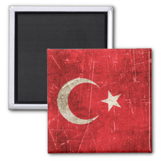 Vintage Aged and Scratched Flag of Turkey Refrigerator Magnet