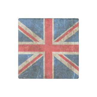 Vintage Aged and Scratched Flag of United Kingdom Stone Magnet