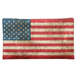 Vintage Aged and Scratched Flag of United States Cosmetic Bag