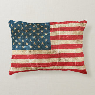 Vintage Aged and Scratched Flag of United States Decorative Pillow