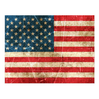 Vintage Aged and Scratched Flag of United States Postcard