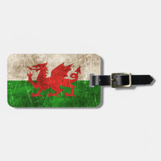 Vintage Aged and Scratched Flag of Wales Bag Tag