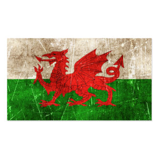 Vintage Aged and Scratched Flag of Wales Business Card