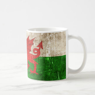 Vintage Aged and Scratched Flag of Wales Coffee Mug