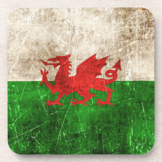 Vintage Aged and Scratched Flag of Wales Drink Coaster