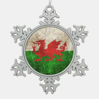 Vintage Aged and Scratched Flag of Wales Snowflake Pewter Christmas Ornament