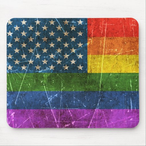 Vintage Aged and Scratched Rainbow America Flag Mouse Pads