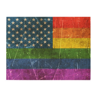 Vintage Aged and Scratched Rainbow America Flag Wood Wall Art