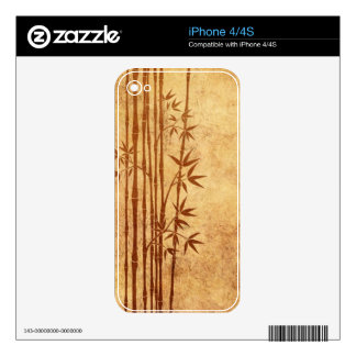 Vintage Aged and Worn Bamboo Sticks with Leaves iPhone 4 Decal