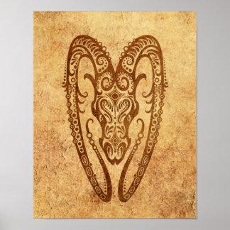 Vintage Aged Aries Zodiac Print