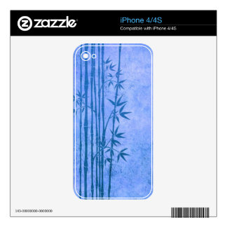 Vintage Aged Blue Bamboo Sticks with Leaves Decals For The iPhone 4S