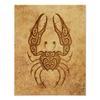 Vintage Aged Cancer Zodiac Poster