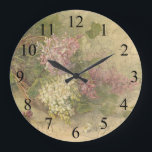 """Vintage Aged Chic Flowers Wall Clock<br><div class=""""desc"""">Distressed and aged vintage image wall clock with flower design. Great for a casual room with that shabby aged chic style of decorating.</div>"""