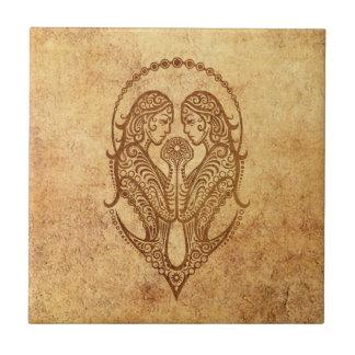 Vintage Aged Gemini Zodiac Ceramic Tile