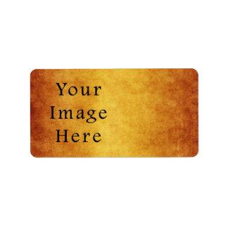 Vintage Aged Harvest Gold Parchment Paper Blank Address Label