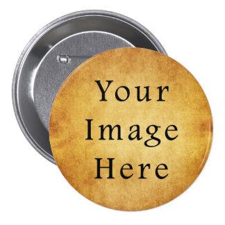 Vintage Aged Harvest Gold Parchment Paper Blank Pinback Button