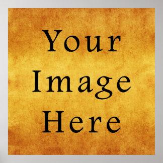 Vintage Aged Harvest Gold Parchment Paper Blank Poster