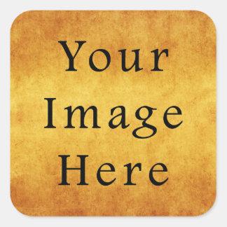 Vintage Aged Harvest Gold Parchment Paper Blank Square Sticker