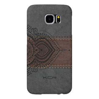 Vintage Aged Leather With Black Lace Accent Samsung Galaxy S6 Case
