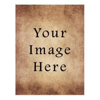 Vintage Aged Light Dark Brown Parchment Paper Postcard