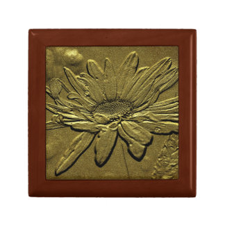 Vintage Aged Look Daisy Floral Art Jewelry Box