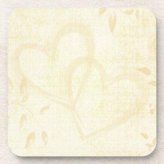 Vintage Aged Paper Wedding Drink Coasters