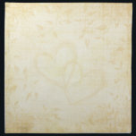 "Vintage Aged Paper Wedding Napkin<br><div class=""desc"">A beautiful and romantic design with a beige/brown colored background that resembles aged paper with beautiful fades of leafy vines around the border and two intertwined hearts in the center. An elegant and formal old world, vintage style look. This design also comes on many other products to suit all your...</div>"