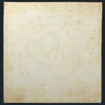 """Vintage Aged Paper Wedding Napkin<br><div class=""""desc"""">A beautiful and romantic design with a beige/brown colored background that resembles aged paper with beautiful fades of leafy vines around the border and two intertwined hearts in the center. An elegant and formal old world, vintage style look. This design also comes on many other products to suit all your...</div>"""