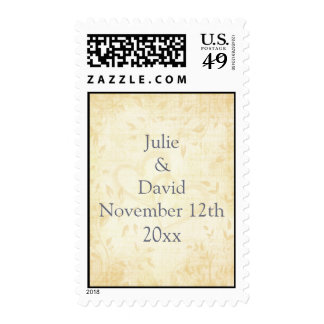 Vintage Aged Paper Wedding Postage Stamp