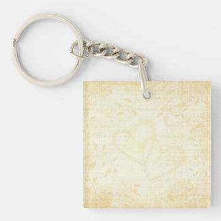 Vintage Aged Paper Wedding Single-Sided Square Acrylic Keychain