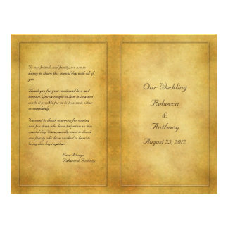 "Vintage Aged Parchment Look Wedding Program 8.5"" X 11"" Flyer"