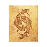 Vintage Aged Pisces Zodiac Gallery Wrapped Canvas