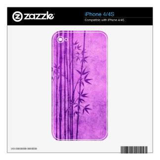 Vintage Aged Purple Bamboo Sticks with Leaves Decal For iPhone 4S