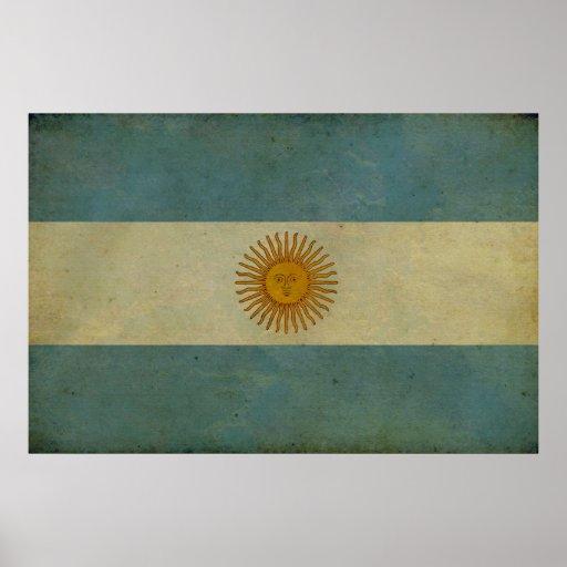 Vintage aged retro Argentina flag Poster