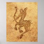 Vintage Aged Sagittarius Zodiac Poster