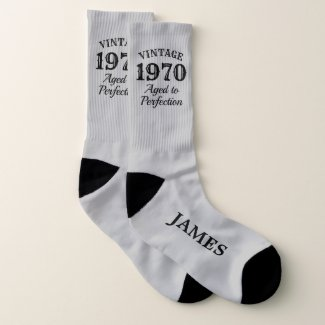 Vintage aged to perfection 50th Birthday men's Socks