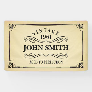 Vintage Aged to Perfection Birthday Banner