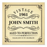 "Vintage Aged to Perfection Funny Birthday 5.25"" Square Invitation Card"
